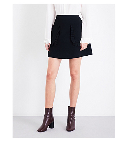 SANDRO Ruffled-detail knitted skirt (Black