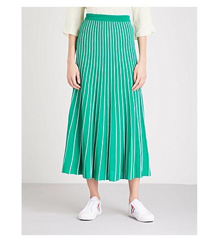 SANDRO Striped knitted midi skirt (Green
