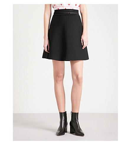 SANDRO Pointelle-trimmed knitted mini skirt (Black