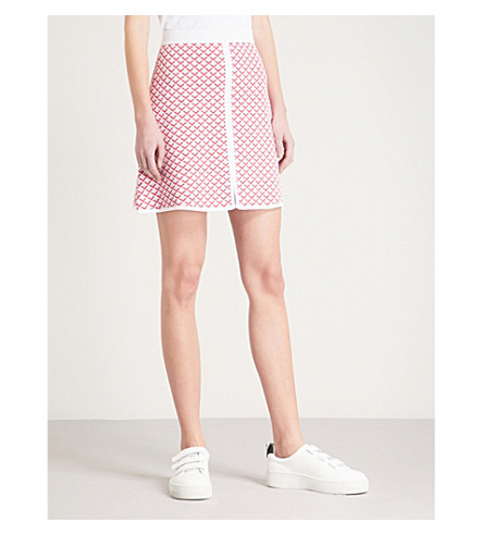 SANDRO Abstract-pattern jacquard mini skirt (Pale+pink