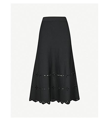SANDRO Laser-cut stretch-knit midi skirt (Black
