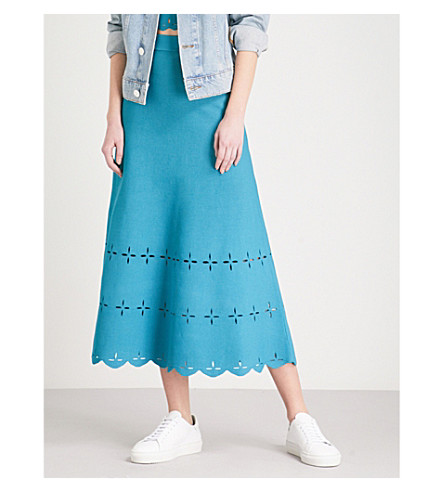 SANDRO Laser-cut stretch-knit midi skirt (Blue