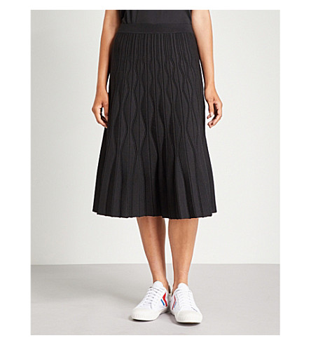 SANDRO A字形高腰针织裙 (黑色