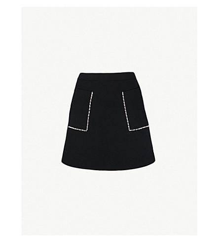 SANDRO 装饰针织迷你裙 (黑色