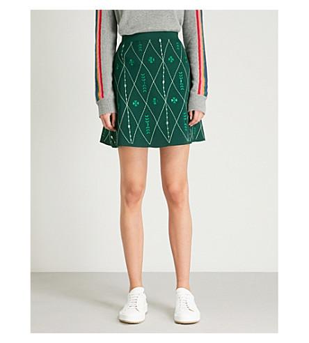 SANDRO 刺绣针织裙 (Chlorophylle