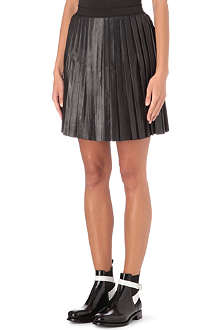 SANDRO Justine pleated leather skirt
