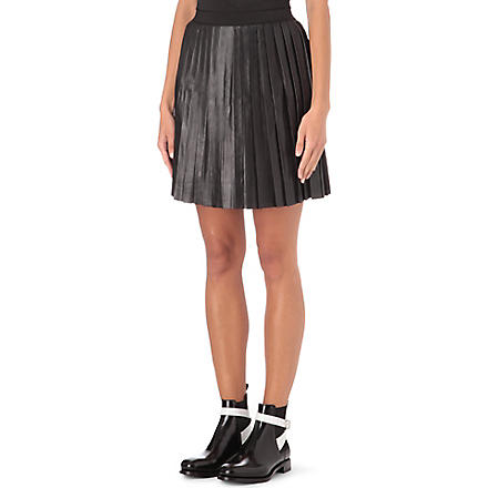 SANDRO Justine pleated leather skirt (Black