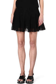 SANDRO Short fluted mesh skirt