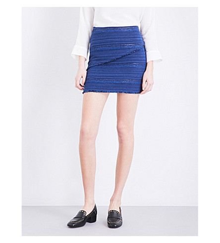 SANDRO Fringed tweed mini skirt (Egyptian+blue