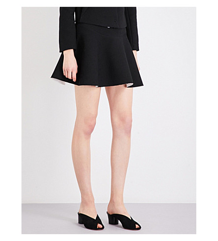 SANDRO Flared woven mini skirt (Black