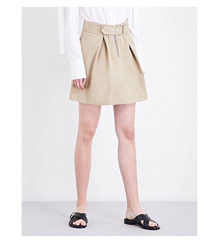 SANDRO Buckled A-line cotton-twill skirt (Sand