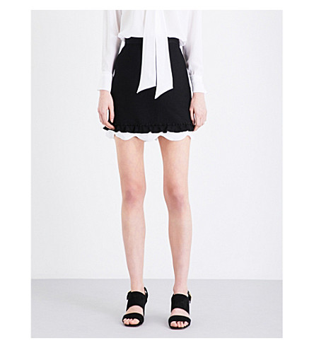 SANDRO Scallop-edged ribbed-knit mini skirt (Black