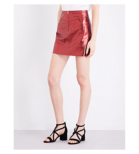 SANDRO Metallic leather skirt (Burgundy