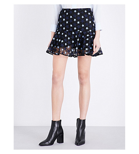 SANDRO Star guipure-lace mini skirt (Navy blue