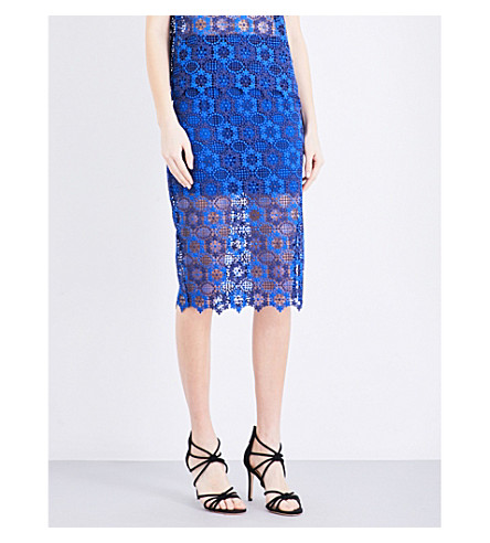 SANDRO Floral guipure-lace pencil skirt (Egyptian+blue