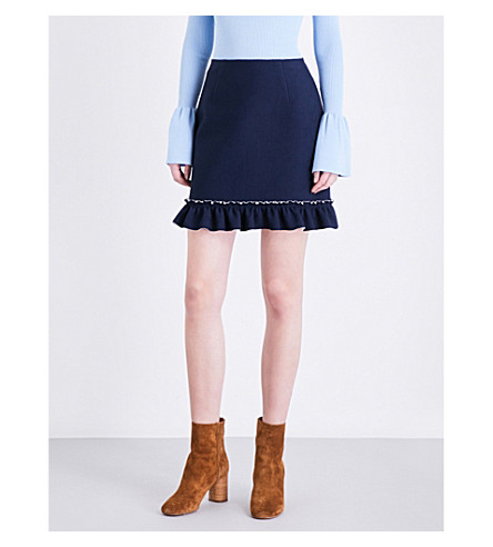 SANDRO Flared-hem woven mini skirt (Navy+blue