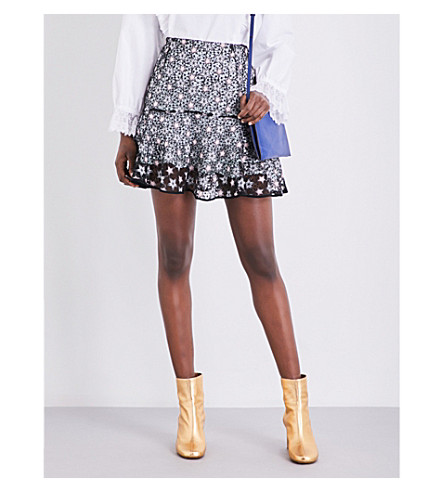 SANDRO High-rise star-print lace skirt (Multi-color