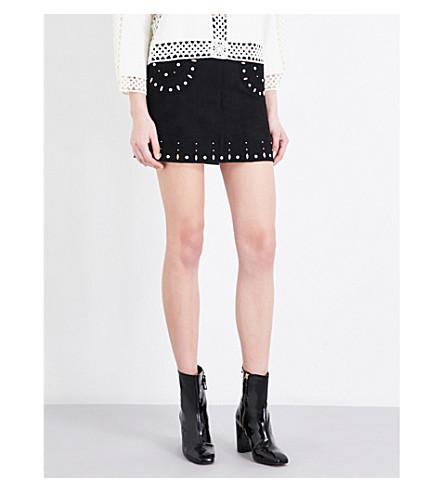 SANDRO Embellished suede skirt (Black