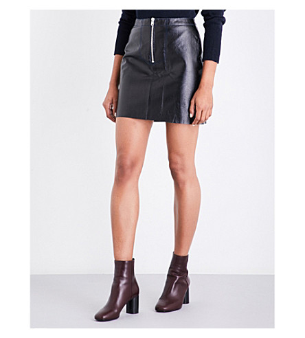 SANDRO High-rise contrast-stitching leather skirt (Black