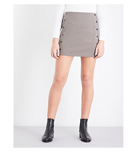 SANDRO Houndstooth twill skirt (Multi+color