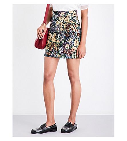 SANDRO High-rise floral-jacquard skirt (Multi-color