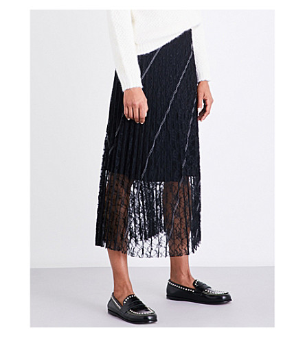 SANDRO Pleated lace skirt (Black
