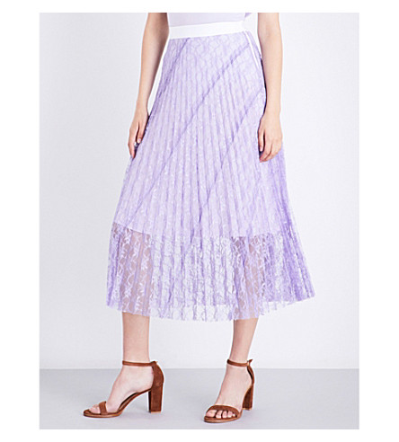 SANDRO Pleated lace skirt (Mauve