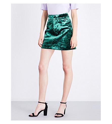 SANDRO High-rise A-line velvet skirt (Moss green