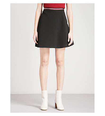 SANDRO A-line crepe mini skirt (Black