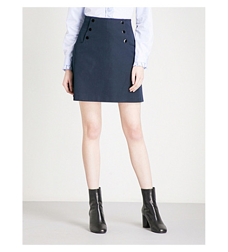 SANDRO Button-detail high-rise gabardine skirt (Navy+blue