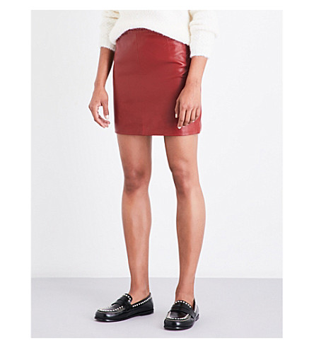 SANDRO Mid-rise leather skirt (Mahogany