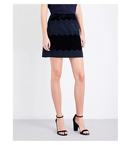 SANDRO Contrasting-panel velvet skirt (Navy+blue