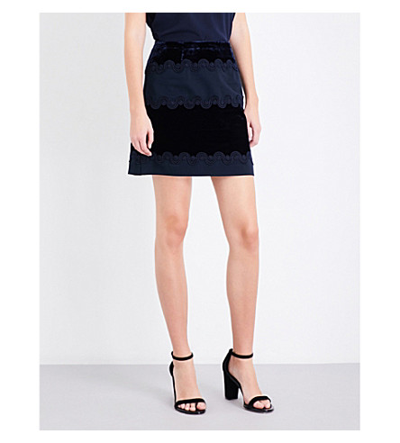 SANDRO 对比-板绒裙子 (海军 + 蓝色