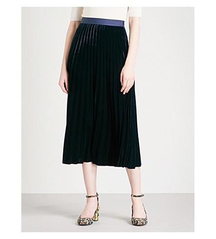 SANDRO Pleated velvet midi skirt (Navy+blue