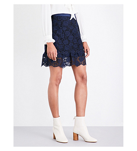 SANDRO Rose-embroidered lace skirt (Navy+blue
