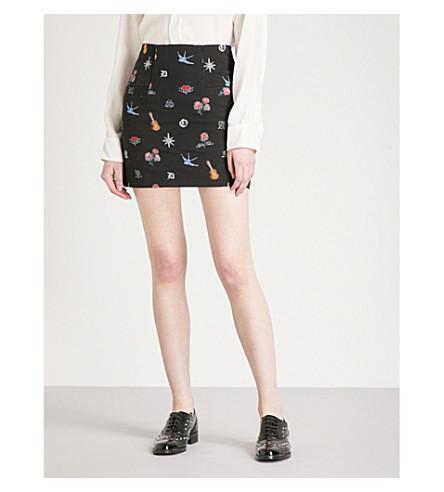SANDRO Tattoo-pattern jacquard skirt (Black