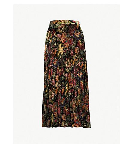 SANDRO Floral-patterned high-rise velvet midi skirt (Multi+color