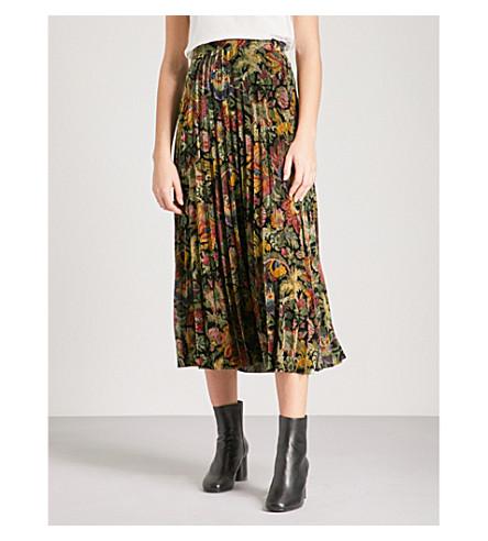 SANDRO Floral-patterned high-rise velvet midi skirt (Multi-color