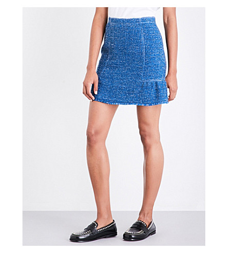 SANDRO Peplum tweed skirt (Azur+blue