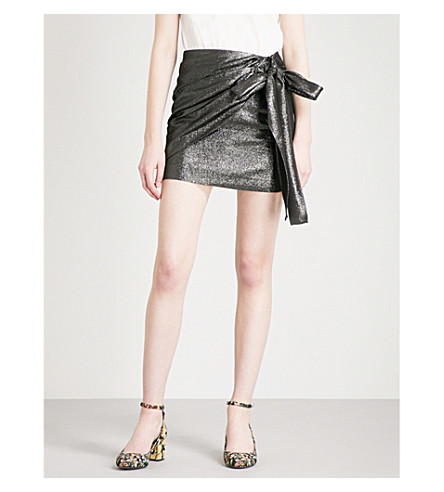 SANDRO Draped-detail lamé skirt (Silver