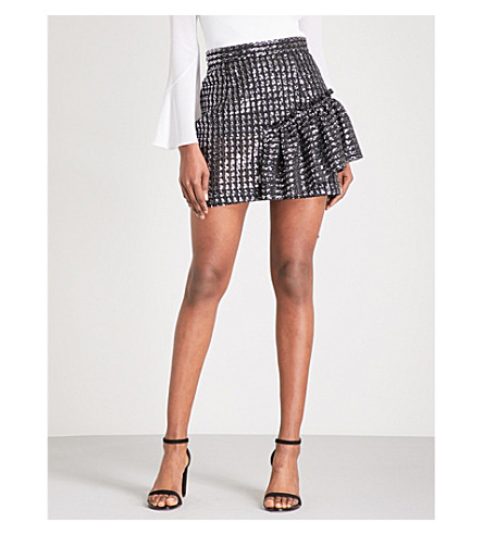 SANDRO Ruffle-detail sequin mini skirt (Silver