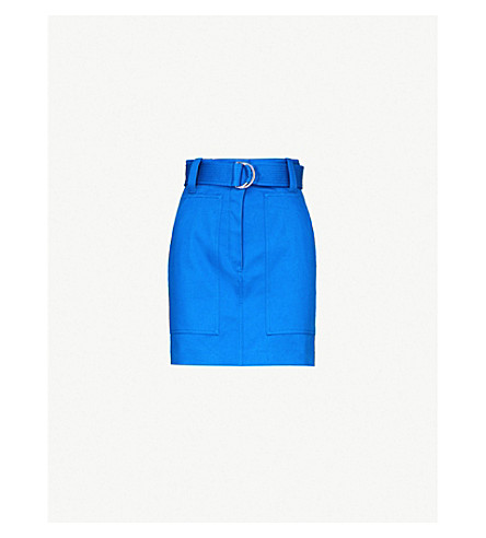 SANDRO Belted high-rise cotton-twill mini skirt (Blue