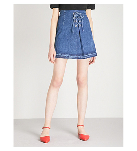 SANDRO Lace-up front denim skirt (Blue