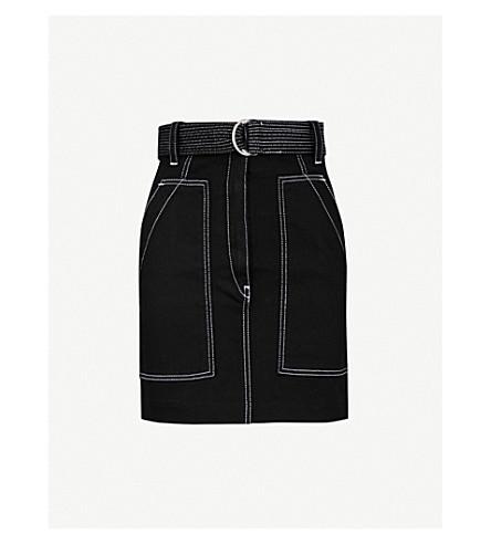 SANDRO High-rise stretch-denim skirt (Black