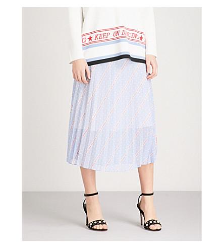 SANDRO Keep on Dancing printed chiffon midi skirt (Blue