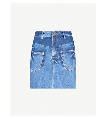 SANDRO Frayed-hem denim skirt (Blue