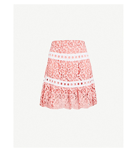 SANDRO Guipure-detail lace skirt (Pale+pink