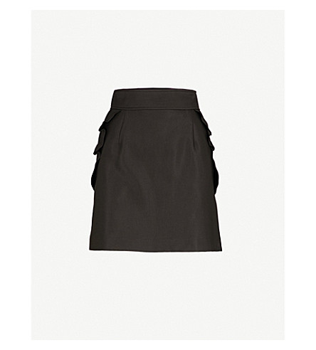 SANDRO Frilled-trim cotton-blend mini skirt (Black