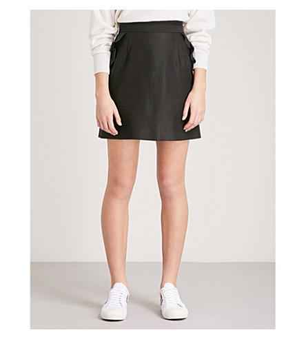 SANDRO Frilled-trim cotton-blend mini skirt (Black