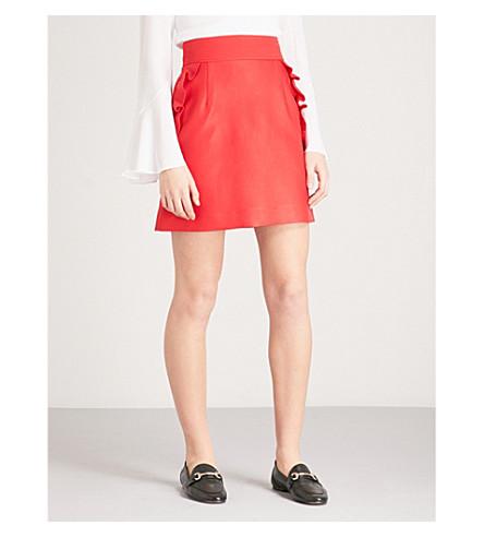 cotton Frilled SANDRO mini Frilled blend skirt Red SANDRO trim WvqURqO
